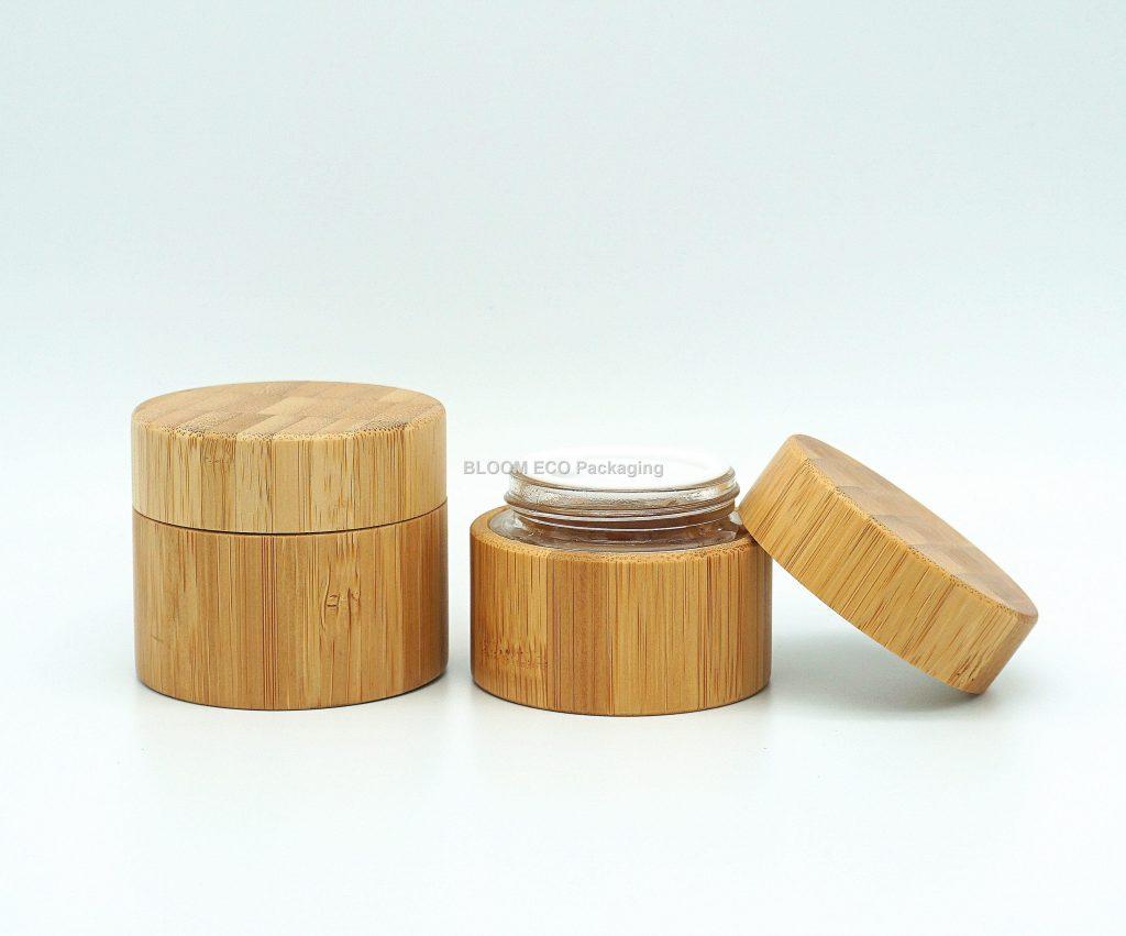 Glass Bamboo Cream Jar