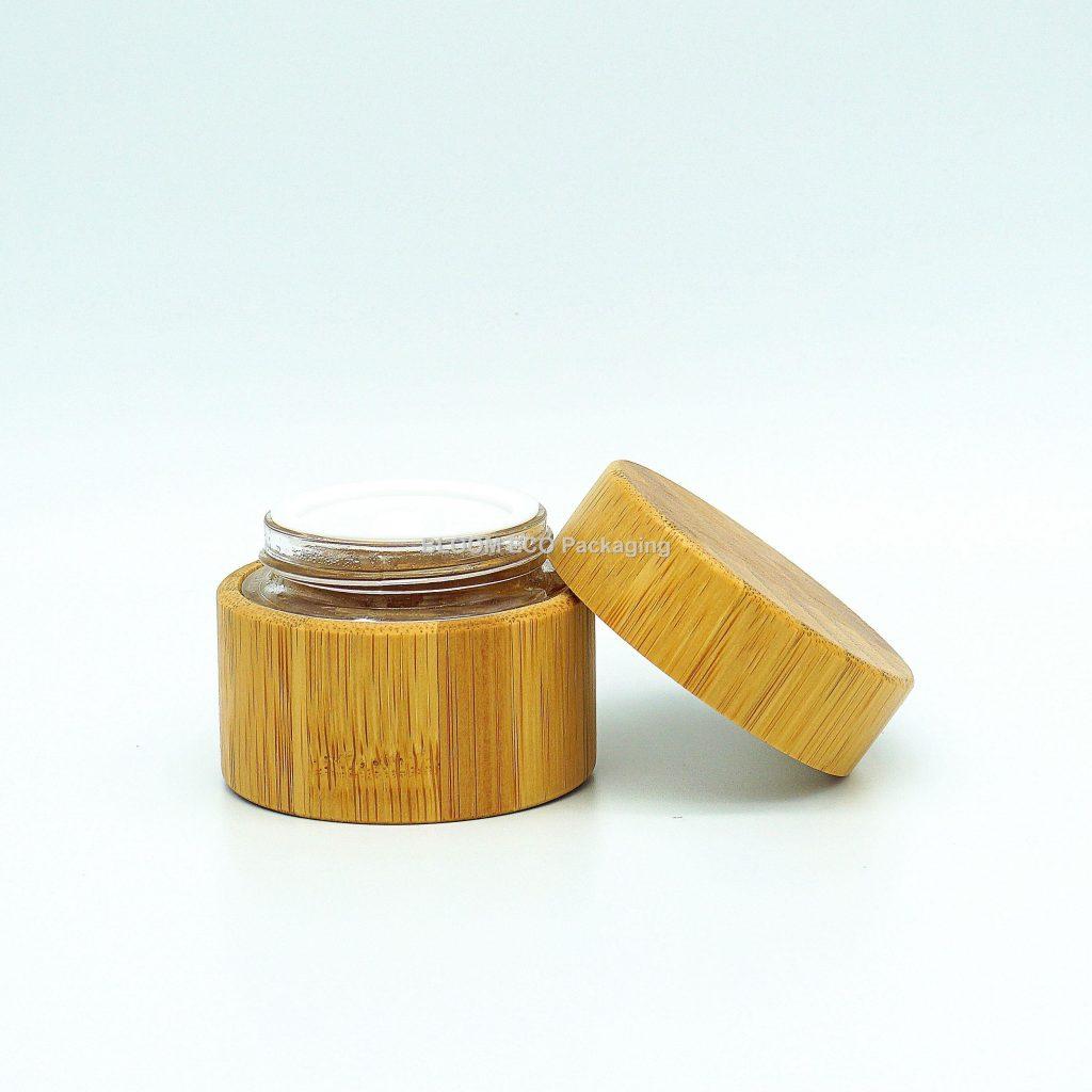 Glass Bamboo Cosmetic Cream Jar