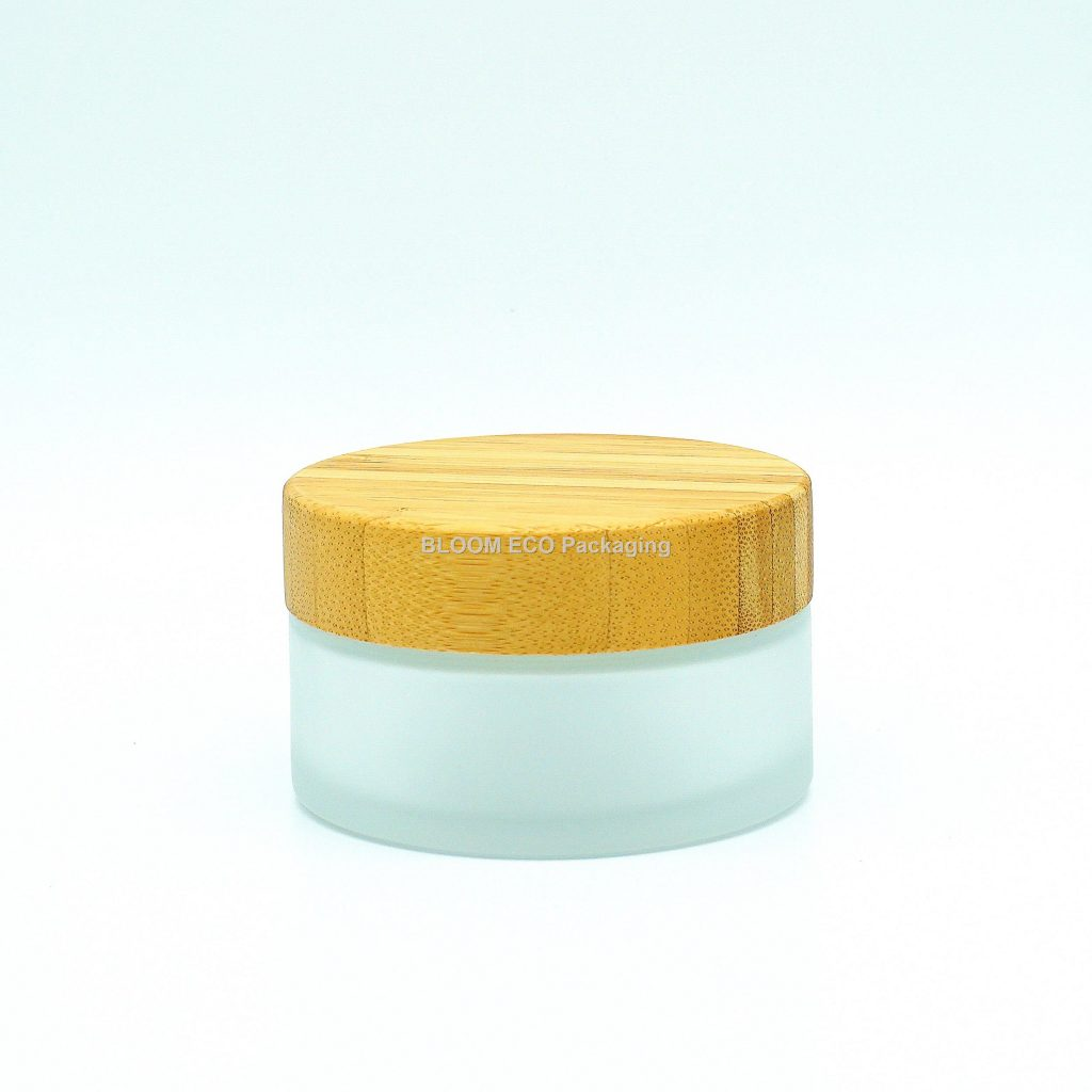 Glass Bamboo Cosmetic Containers Cream Jar